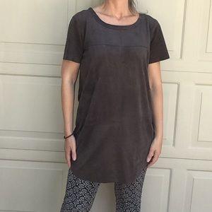 OLIVACEOUS faux suede shift dress gray S M